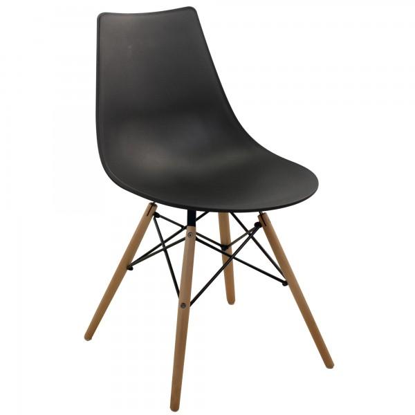 chaise r tro noire pied bois mod le inspiration. Black Bedroom Furniture Sets. Home Design Ideas