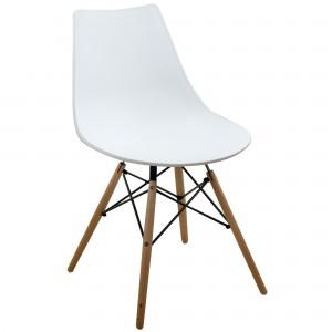 chaise rétro blanche pied bois: modèle