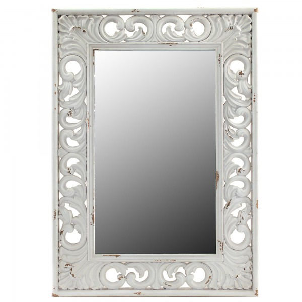 Miroir baroque blanc rectangulaire for Miroir baroque rectangulaire