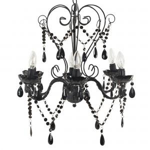 Superbe lustre baroque couleur noir en verre acrylique for Lustre noir baroque