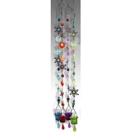 Suspension verre & métal rouge, Soleil, H 110 cm