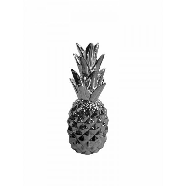 Fruit d coratif design ananas chrom argent for Ananas deco argent