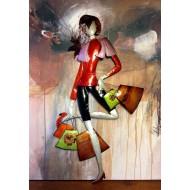 Dko Plaques : La minette shopping au pull rouge