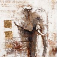 Tableau moderne éléphant  : Savane 1