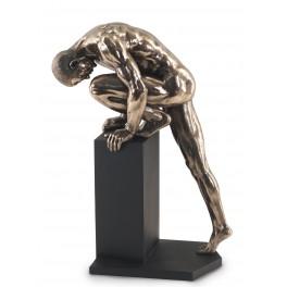 Statuette homme design : Escalade II, Finition Bronze, hauteur 35 cm