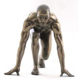Statuette homme effet bronze : Le coureur, largeur 17 cm