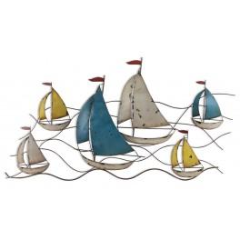 La régate, 6 bateaux 2 couleurs, longueur 120 cm