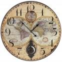 Pendule MDF à balancier, Thème Cartographie Diam. 58 cm, modèle jaune