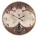 Pendule MDF à balancier, Thème planisphère Diam. 58 cm, modèle marron