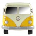 Plaque métal véhicule : Le Combi jaune flower power, longueur 60 cm
