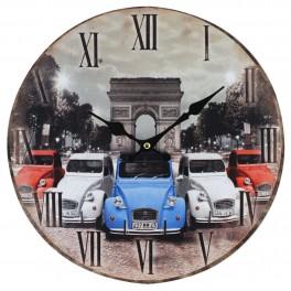 Horloge MDF : 2 CV 3 couleurs à Paris, Diam. 34 cm