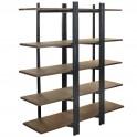 Etagère rétro industrielle, 5 plateaux acier et bois