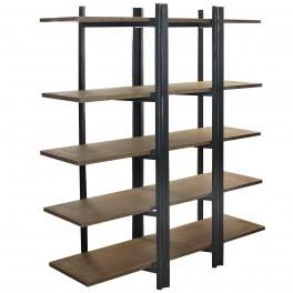 Etagère rétro industrielle : Mod 5 plateaux & Structure bois, L 160 cm