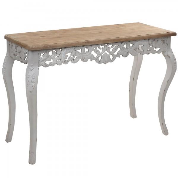 console baroque romantique bois naturel patin 233 et blanche