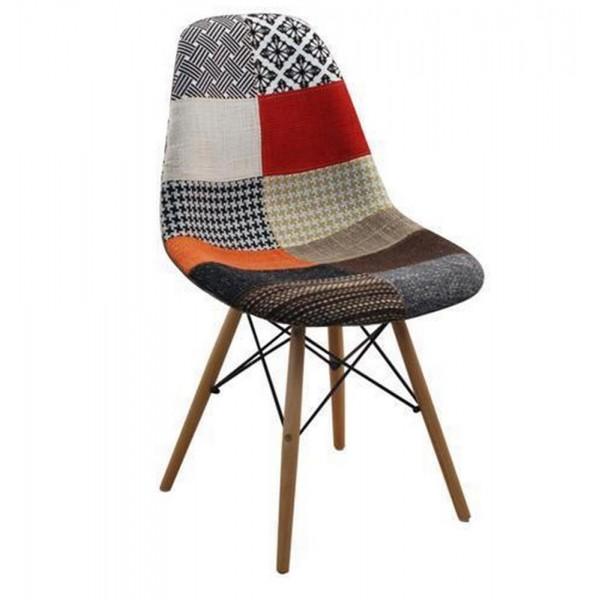 Chaise Vintage Patchwork Pied Bois Modele Antic