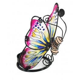Le photophore papillon en verre coloré, modèle rose