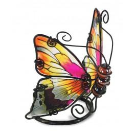 Le photophore papillon en verre coloré, modèle orange