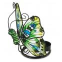 Le photophore papillon en verre coloré, modèle vert