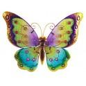 Papillon mural arc en ciel, violet & jaune L 42 cm