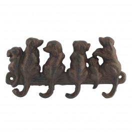 Patère murale : Six chiens en fer forgé, L 20 cm
