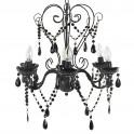 Lustre baroque noir, modèle pampilles à 6 bras, H 60 cm