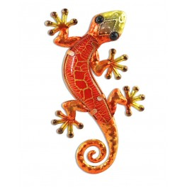 Le gecko coloré, version rouge H15 cm