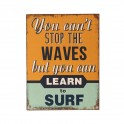 Plaque métal : Learn to surf the waves, H 33 cm