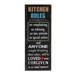 Plaque métal Cuisine : Kitchen Rules, H 50 cm