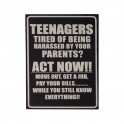 Plaque métal : Teenagers Act now, H 33 cm