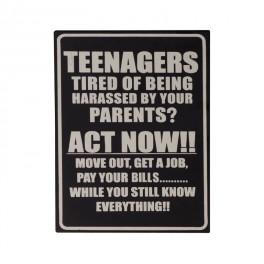 Plaque métal : Teenagers Act now, H 33 cm