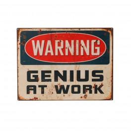 Plaque métal : Genius at Work, H 33 cm