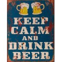 Plaque métal : Keep Calm & Drink a Beer, H 33 cm