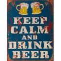 Plaque métal Keep Calm & drink a Beer