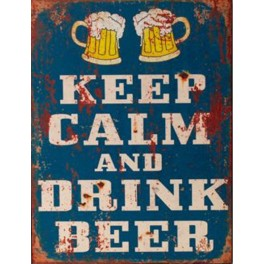 Plaque métal : Keep Calm & Drink a Beer, H 33 cm