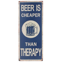 Plaque métal : Beer & Therapy, H 50 cm