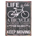Plaque métal : Life is a Bicycle, H 33 cm