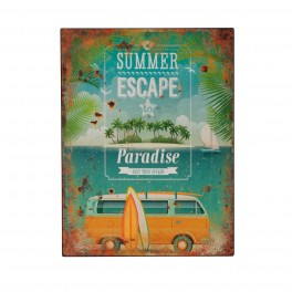 Plaque métal : Summer escape to Paradise, H 33 cm