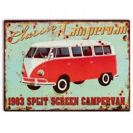 Plaque métal Combi Split : Red Campervan, H 33 cm