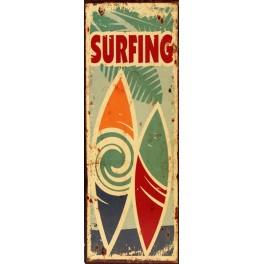 Plaque métal : Panneau Surfing, H 36 cm