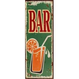 Plaque métal : Panneau Bar, H 36 cm