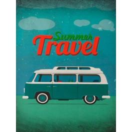 Plaque métal Combi : Summer Travel, H 33 cm