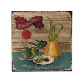 Plaque métal Provence : Huile d'olive, H 30 cm