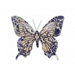 Papillon mural Flower Power Bleu foncé, H 33 cm mod 2