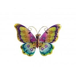 Petit Papillon mural Arc en Ciel, Violet & Jaune, L 26 cm