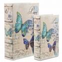 Set 2 Boites Livres, Motif Papillon Paris