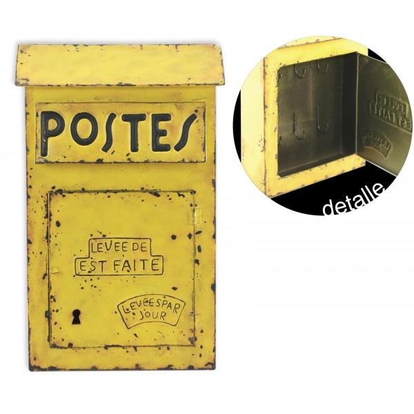 Boite À Clés Murale boite à clés métal vintage la poste, jaune, h 38 cm