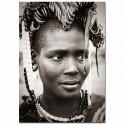 Tableau imprimé N&B Visage africaine, H 75 cm,