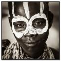 Tableau imprimé N&B Visage Enfant africain, H 100 cm