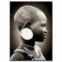 Tableau imprimé N&B Visage Enfant africain 2, H 140 cm