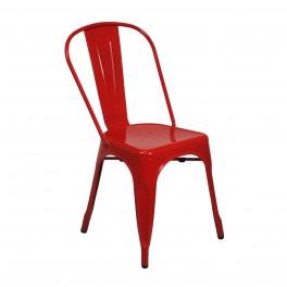 Chaise Rétro Urbaine, Modèle City, Rouge brillant, H 84 cm